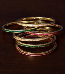 Ruby, Diamond and Emerald Embellished Three Pairs of Designer Bangles for Women