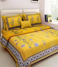 Flower Plant Design Yellow Cotton King Size Double Bed Sheet with 2 Pillow Cover