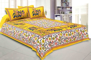 Flower & Elephant Print Yellow Cotton King Size Double Bed Sheet with 2 Pillow Cover