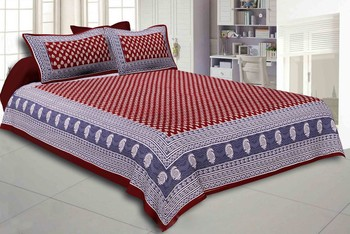 Printed Maroon Cotton King Size Double Bed Sheet with 2 Pillow Cover