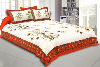 Flower Plant Design Cream & Orange  King Size Double Bed Sheet with 2 Pillow Cover