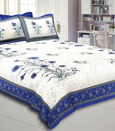 Flower Pattren White & Blue  King Size Double Bed Sheet with 2 Pillow Cover