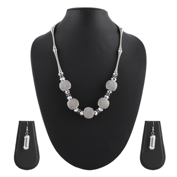 Metallic Silver Necklace & Earrings Set For Women & Girls