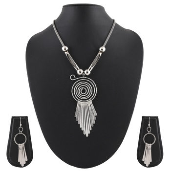 Metallic Silver Pendant Necklace & Earrings Set For Women & Girls