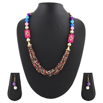 Pearl, Buiscuits & Beads Multi Colored Multi Strand Necklace & Earrings Set For Women & Girls
