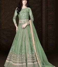 Light Green Designer Heavy Embroidered Anarkali Suit