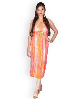 OFF-WHITE & ORANGE MARBLE BANDHEJ KOTA SILK KURTA WITH GOTA-PATTI
