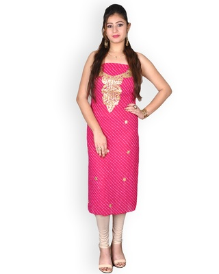 MAJENTA LEHERIYA GEORGETTE KURTA WITH GOTA-PATTI