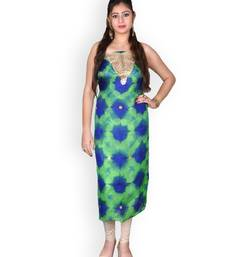 GREEN & BLUE MARBLE BANDHEJ KOTA SILK KURTA WITH GOTA-PATTI