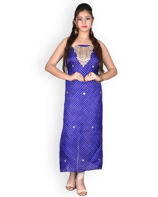 PURPLE LEHERIYA KOTA SILK KURTA WITH GOTA-PATTI