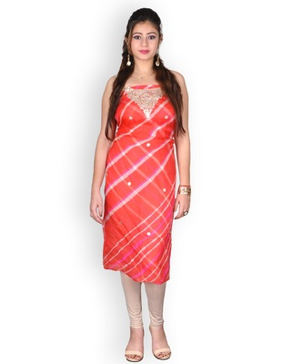 ORANGE & WHITE LEHERIYA KOTA SILK KURTA WITH GOTA-PATTI