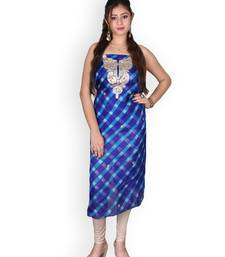 BLUE & WHITE LEHERIYA KOTA SILK KURTA WITH GOTA-PATTI