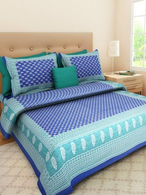 Printed Blue  King Size Double Bed Sheet with 2 Pillow Cover