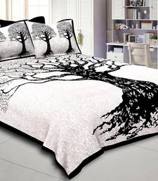 Tree Print Black  King Size Double Bed Sheet with 2 Pillow Cover
