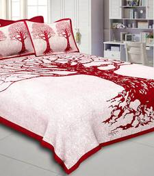Tree Print Red  King Size Double Bed Sheet with 2 Pillow Cover