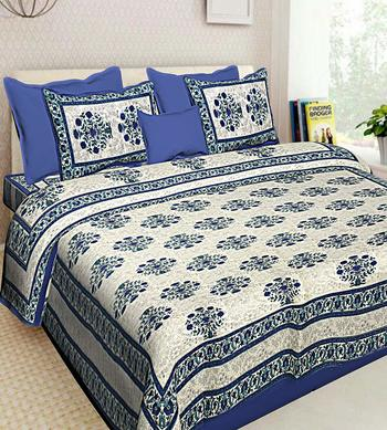 Printed Blue Cotton King Size Double Bed Sheet with 2 Pillow Cover