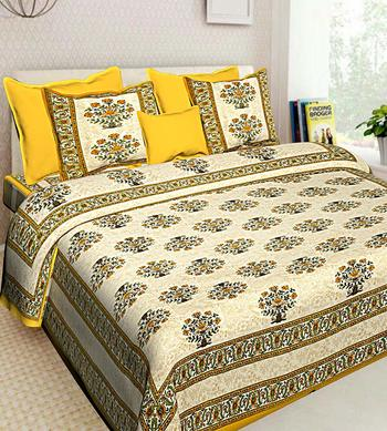Printed Yellow Cotton King Size Double Bed Sheet with 2 Pillow Cover