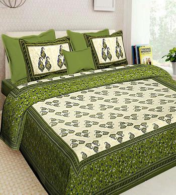 Printed Green Cotton King Size Double Bed Sheet with 2 Pillow Cover