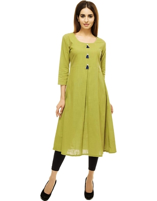 Teal-green plain cotton cotton-kurtis