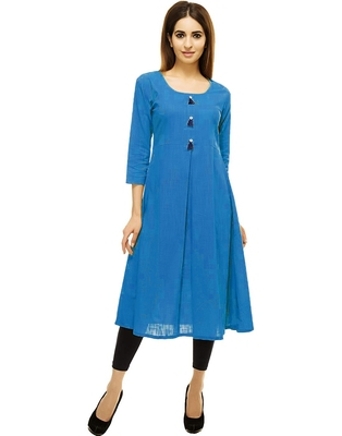 Sky-blue plain cotton cotton-kurtis
