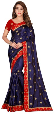 Blue and Red Cotton Silk Embroidered Saree With Unstiched Blouse