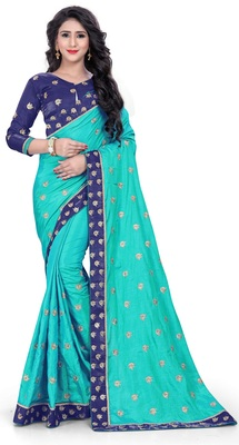 Turquoise and Blue Silk blend Embroidered Saree With Unstiched Blouse