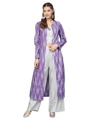 Grey & Purple Cotton Ikkat Jacket Kurta Set