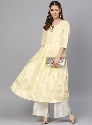 Yellow & Cream Cotton Foil Print Kurta Palazzo Set