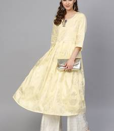 Yellow & Cream Cotton Foil Print Kurta Palazzo Set