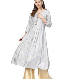 Grey & Yellow Cotton Foil Print Kurta Palazzo Set