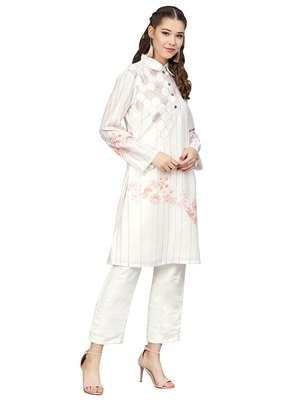 Cream & Black Cotton Blend Striped Kurta Palazzo Set