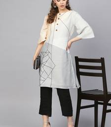 Off White & Black Cotton Blend Striped Kurta Palazzo Set