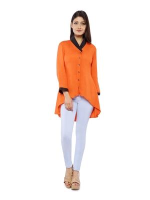 Orange Rayon Flex Solid Tunics Top