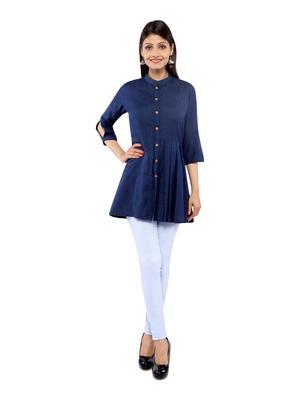 Navy Blue Rayon Flex Solid Tunics Top