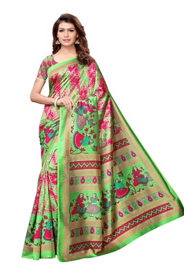 green printed south silk saree with blouse