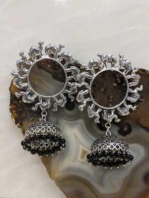 Afghani Antique Silver Oxidised Plated Tribal Jhumki Traditional Camel Animal Dangle Drop Earrings