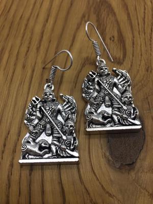 Fancy Antique German Silver Oxidised Plated Tribal Maha-Durga maa Temple Lightweight Hook Earrings