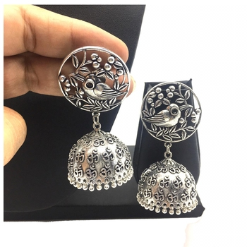 Afghani Antique Silver Oxidised Plated Jhumki Traditional Tribal Bird Statement Dangle Drop Earring