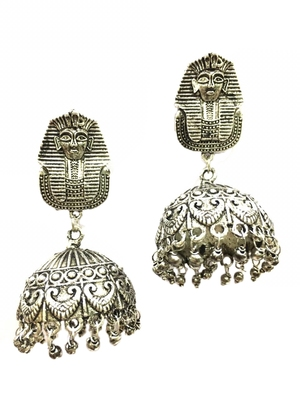 Afghani German Antique Silver Oxidised Plated Egyptian Studded Traditional Dangle Drop Jhumki Earrings