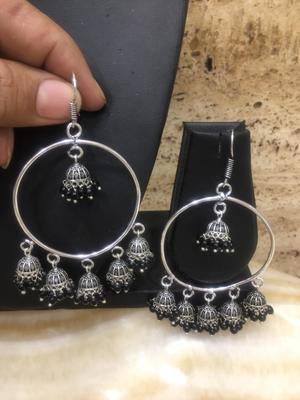 Fancy Antique German Silver Oxidised Plated Multi Jhumki with Black Beads Lightweight Hook Earrings