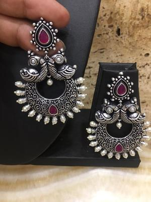 Traditional Antique German Silver Oxidised Peacock Design Red Enamel With Pearl Dangle Earrings