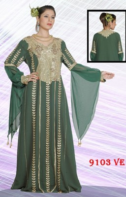 Teal-green embroidered georgette islamic-kaftans