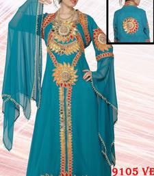 Aqua-blue embroidered georgette islamic-kaftans