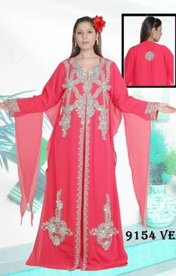 Light-peach embroidered georgette islamic-kaftans