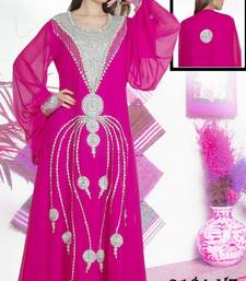 Dark-rani-pink embroidered georgette islamic-kaftans