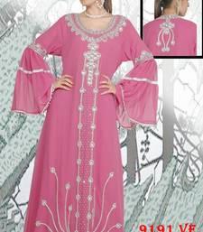 Light-pink embroidered georgette islamic-kaftans