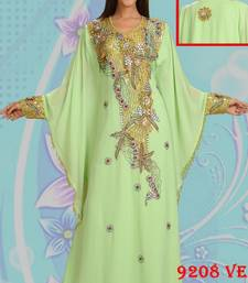 Light-parrot-green embroidered georgette islamic-kaftans