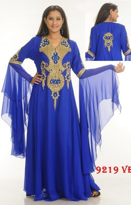 Royal-blue embroidered georgette islamic-kaftans