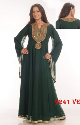 Dark-green embroidered georgette islamic-kaftans