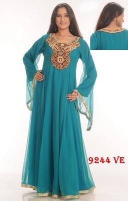 Aqua-blue embroidered georgette islamic-kaftans